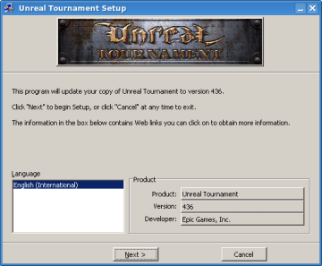 Unreal Tournament Patch set-up first page