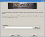 Unreal Tournament Patch set-up - CD-ROM selection screen