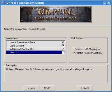 Unreal Tournament - install component selection screen. DirectX not selected.