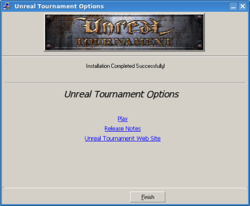 Unreal Tournament - Installation finished screen